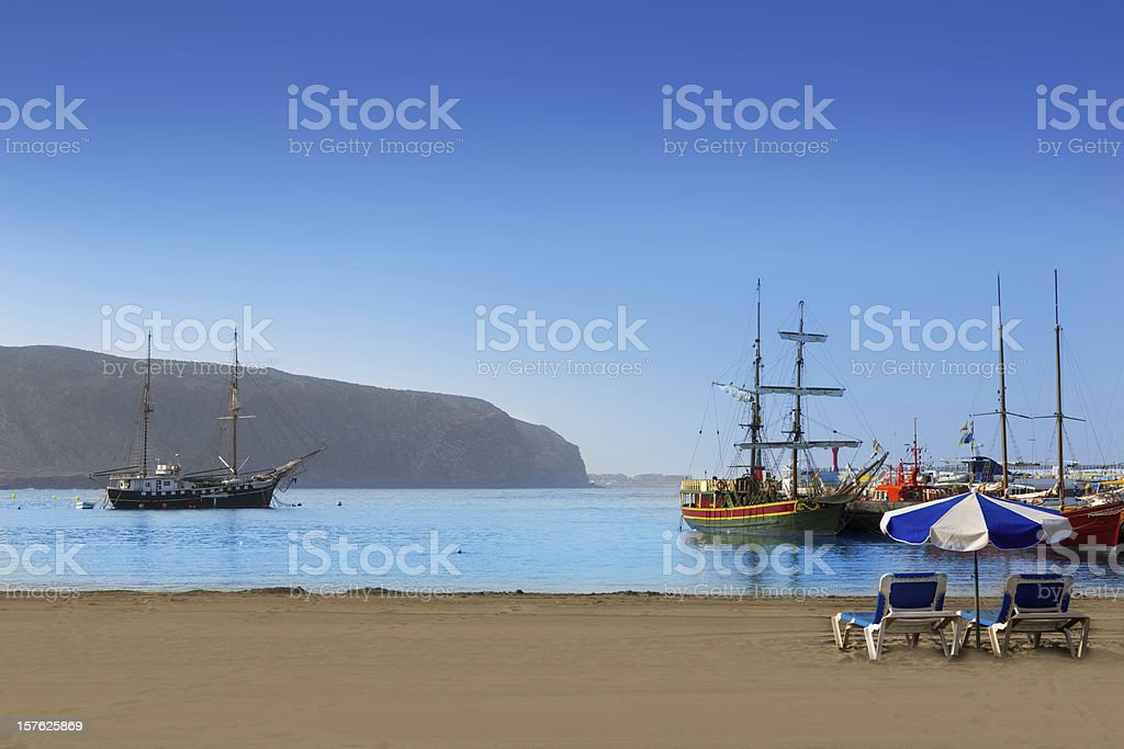 Beautiful view of Los Cristianos beach stock photo