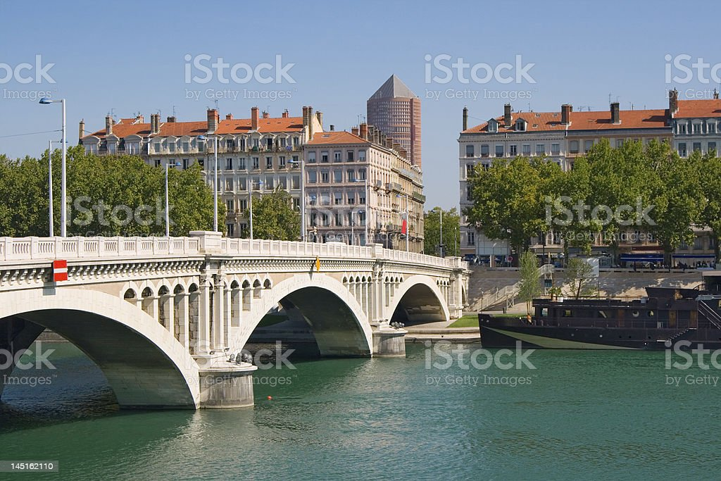 A beautiful view of Lyon on a nice day stock photo