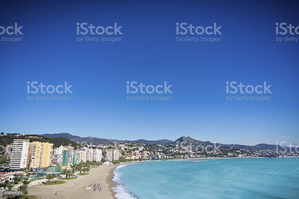 Beautiful view of Malaga city, Spain royalty-free stock photo