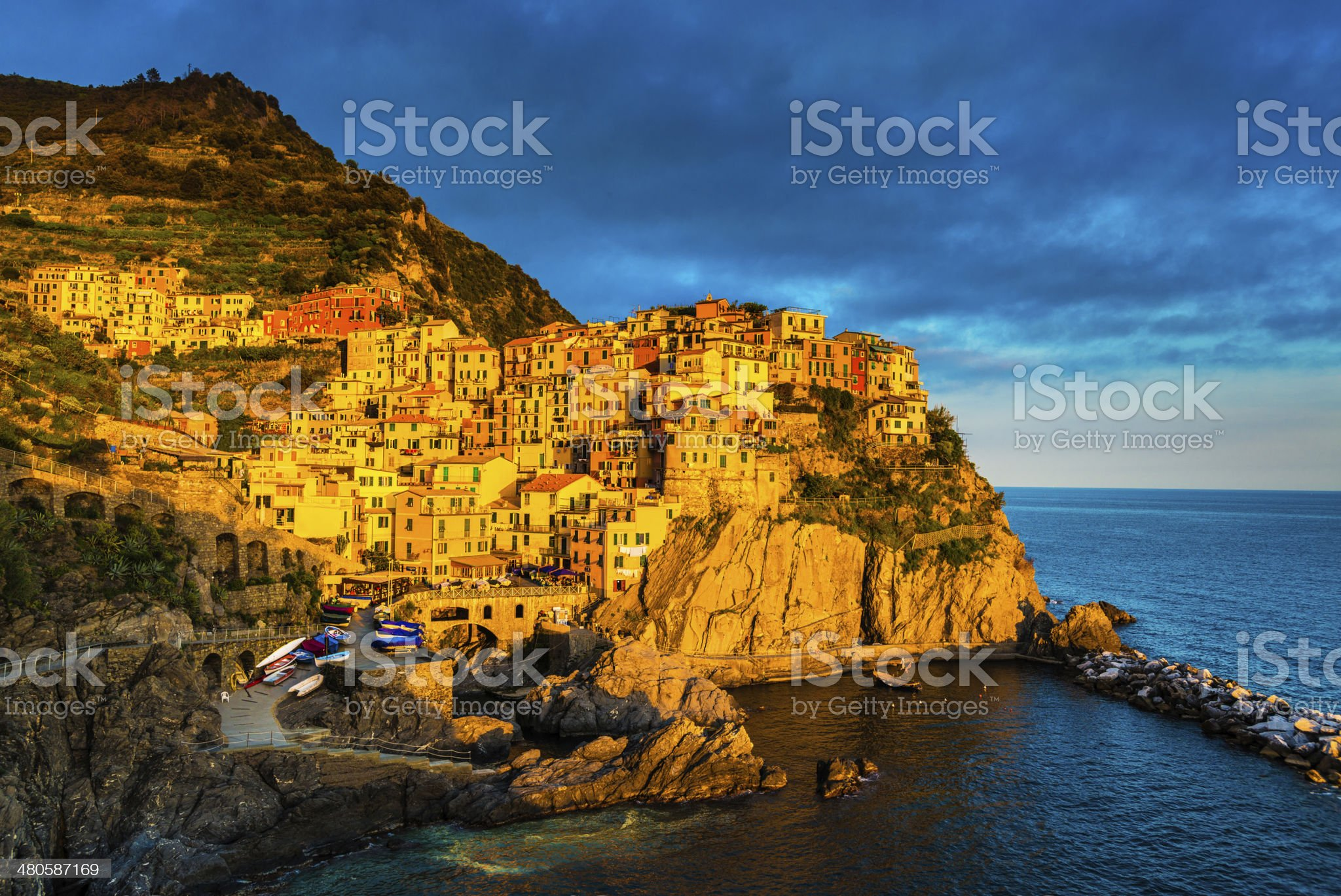 Beautiful view of Manarola in late afternoon light. royalty-free stock photo