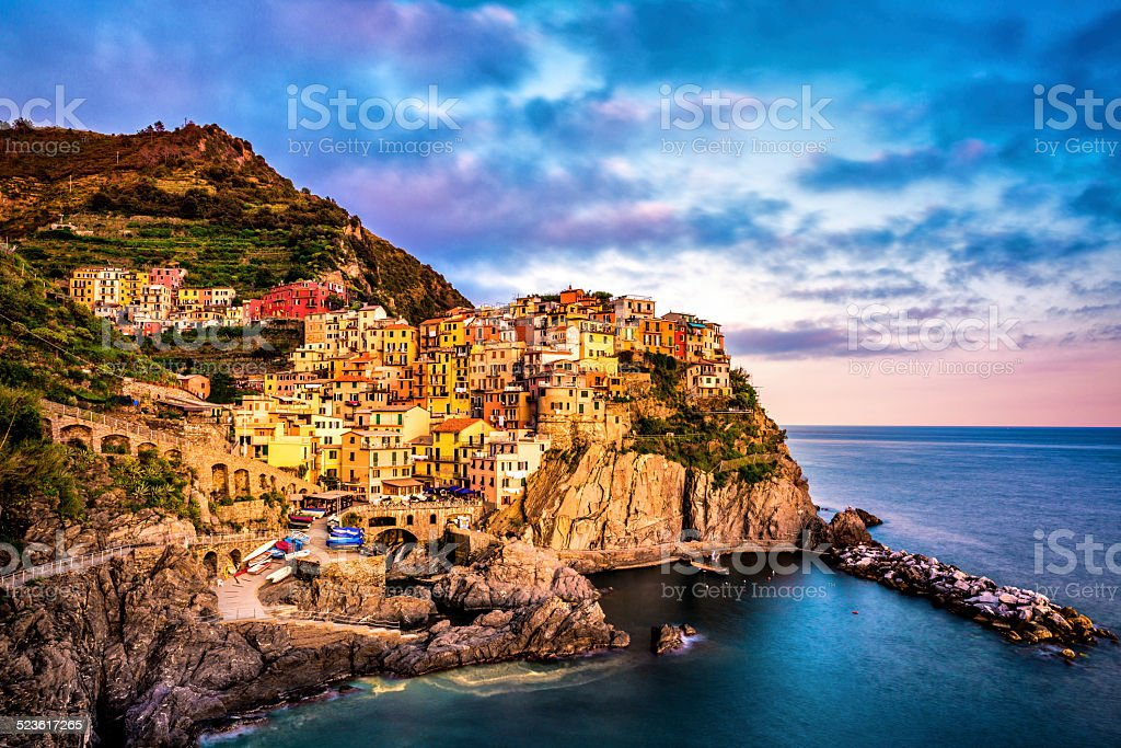 Beautiful view of Manarola in late afternoon light. stock photo