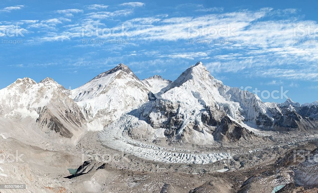 Beautiful view of mount Everest, Lhotse and nuptse stock photo