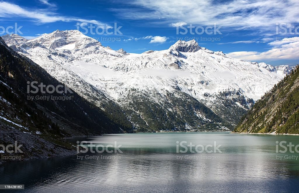 beautiful view of mount Olperer above Schlegeisspeicher lake stock photo
