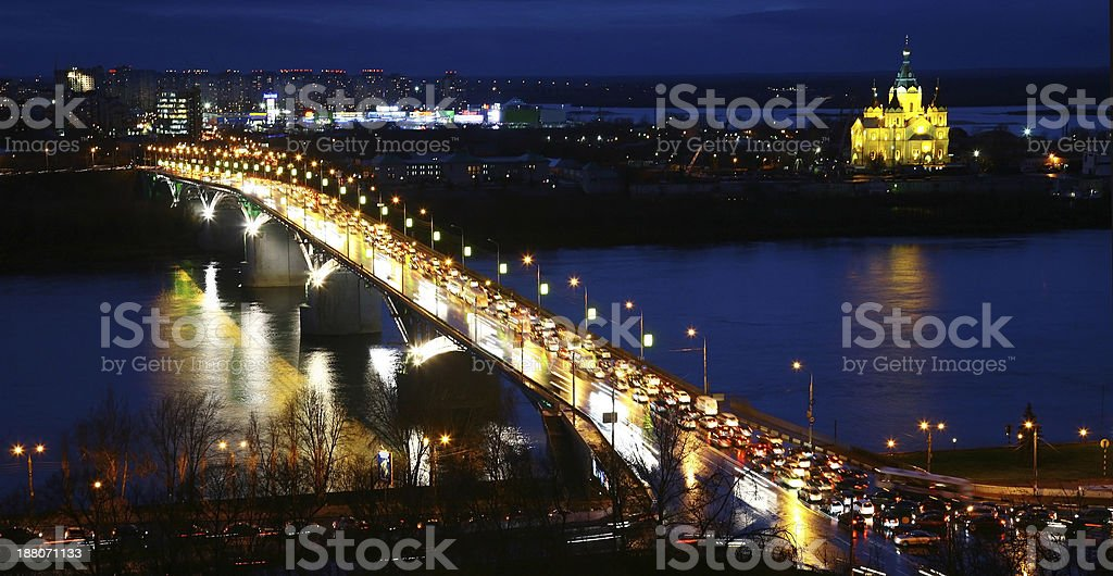 Beautiful view of night Nizhny Novgorod Russia stock photo