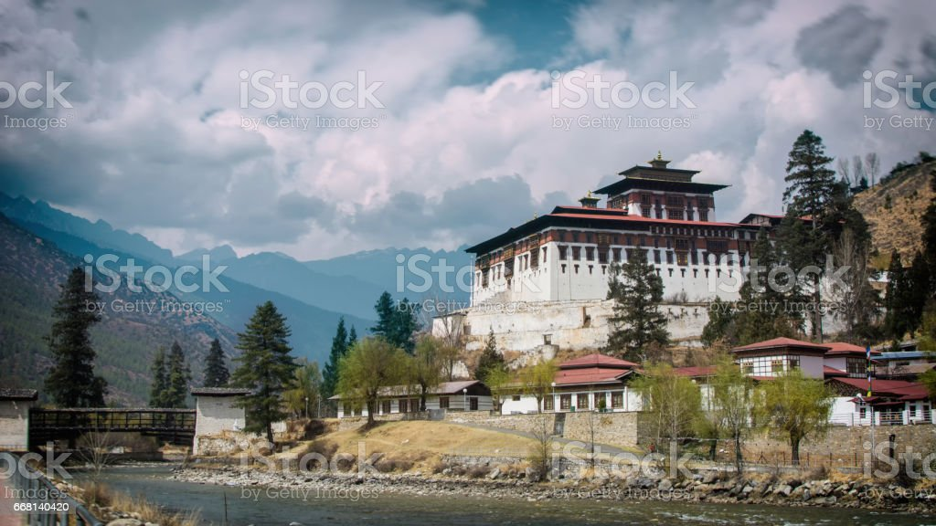 Beautiful view of Paro Dzong stock photo