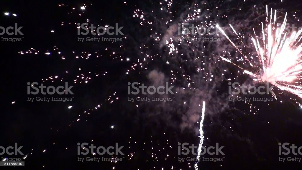 Beautiful View Of Party Fireworks In The Night stock photo