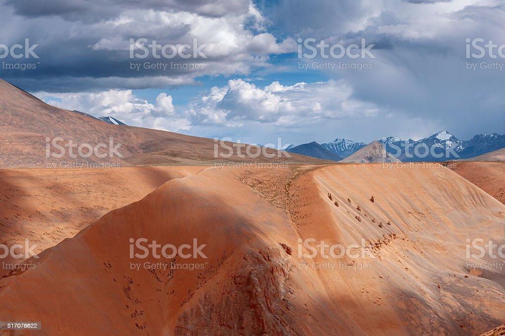 Beautiful View of Plateau Mora,mountains, orange, clouds, sand,India stock photo