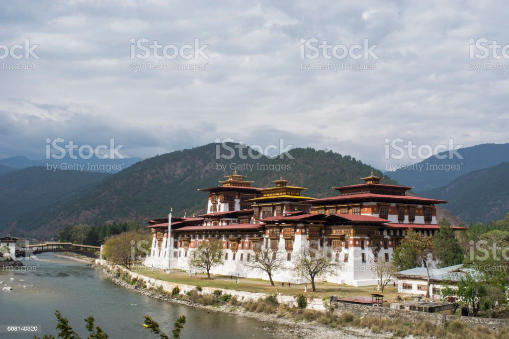 Beautiful view of Punakha Dzong in Bhutan stock photo