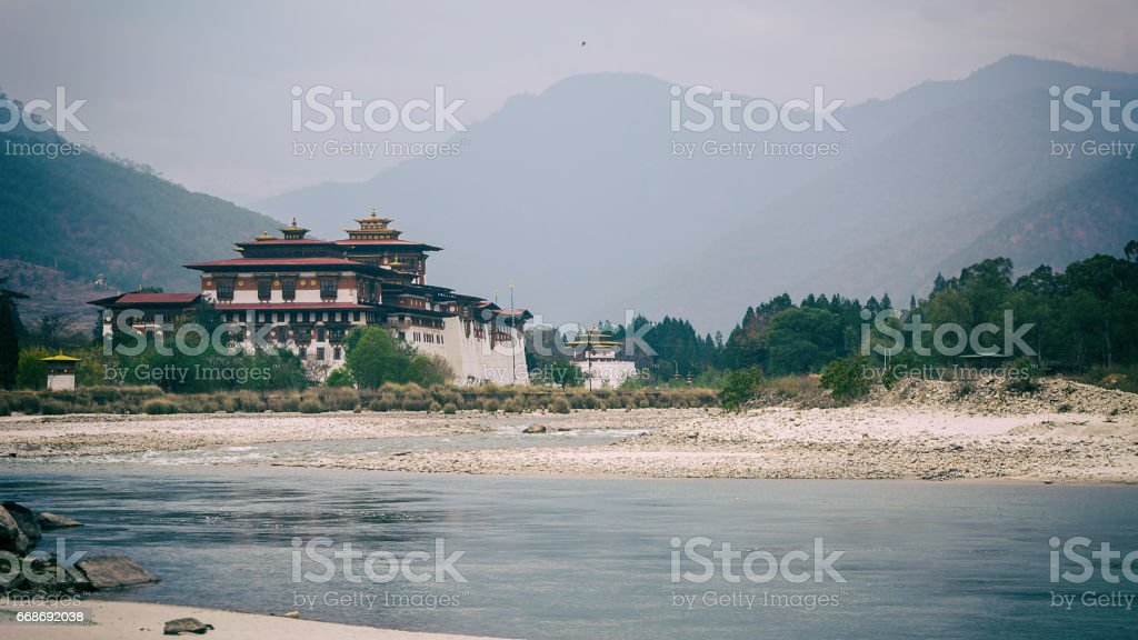 Beautiful view of Punakha Dzong stock photo
