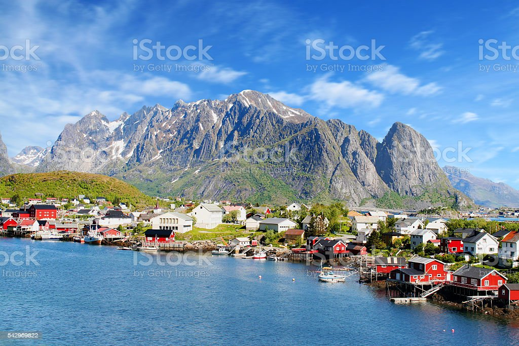 beautiful view of Reine town in Lofoten Islands, Norway stock photo