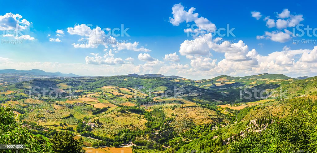 Beautiful view of rolling hills, vineyards and meadows, Umbria, Italy stock photo