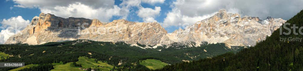 Beautiful view of Sasso della Croce Group in the Alta Badia Dolomites. Panorama landscape in Italy. stock photo