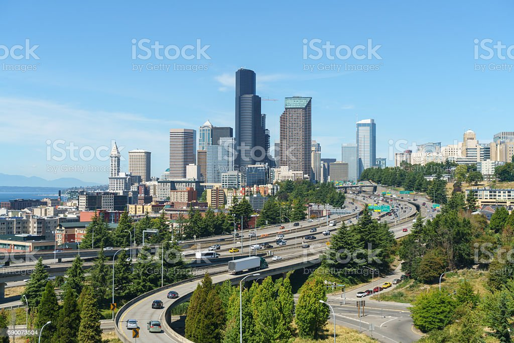 Beautiful View of Seattle Downtown stock photo