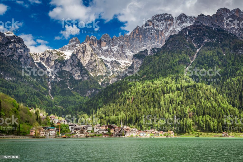Beautiful view of small town in Dolomites, Europe stock photo