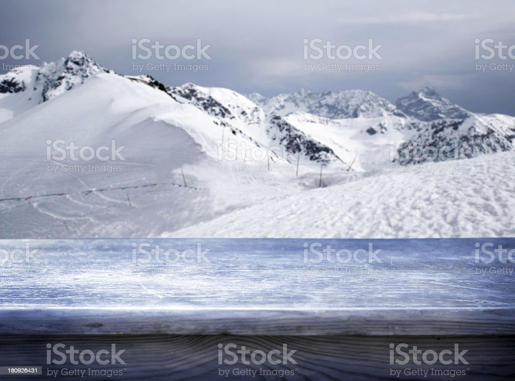A beautiful view of snowy mountains royalty-free stock photo