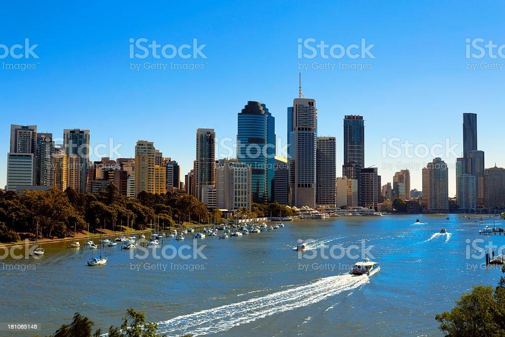 Beautiful view of sunny Brisbane stock photo