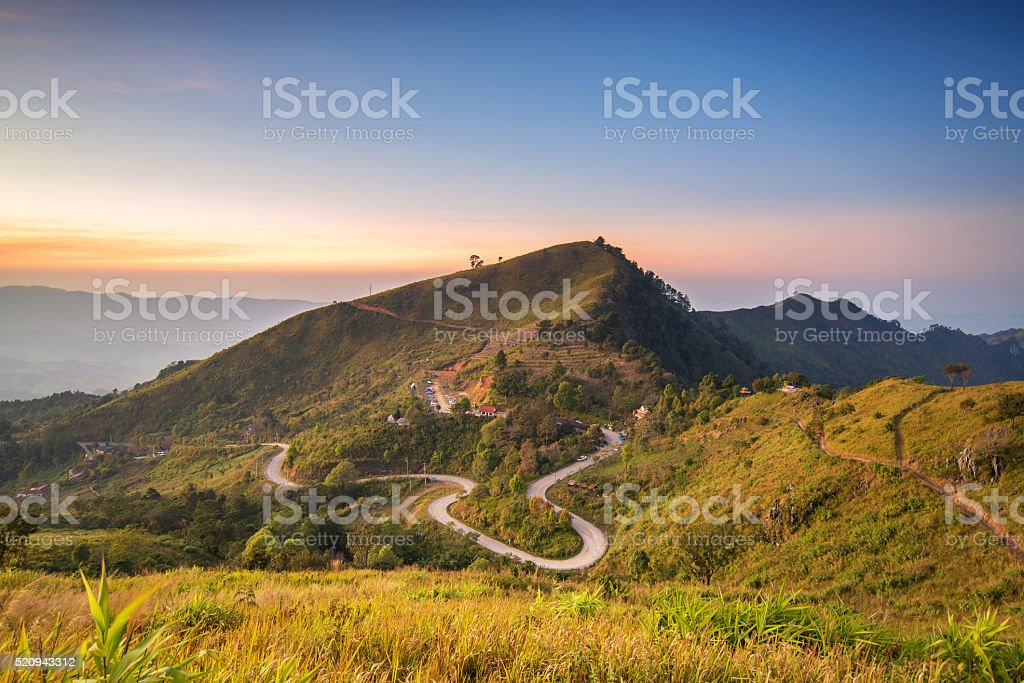 Beautiful view of sunset at doi angkhang beautiful and poppular stock photo