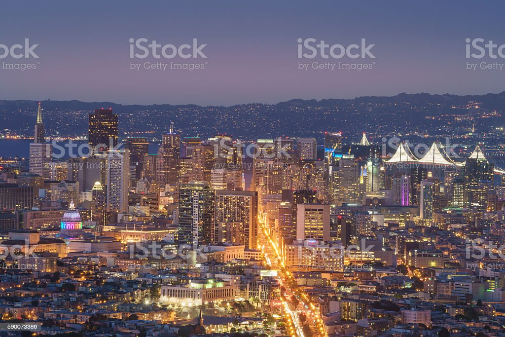Beautiful View of Sunset in San Francisco from Twin Peaks royalty-free stock photo