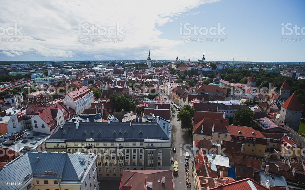 beautiful view of Tallinn City Old Town in Summer, Estonia stock photo