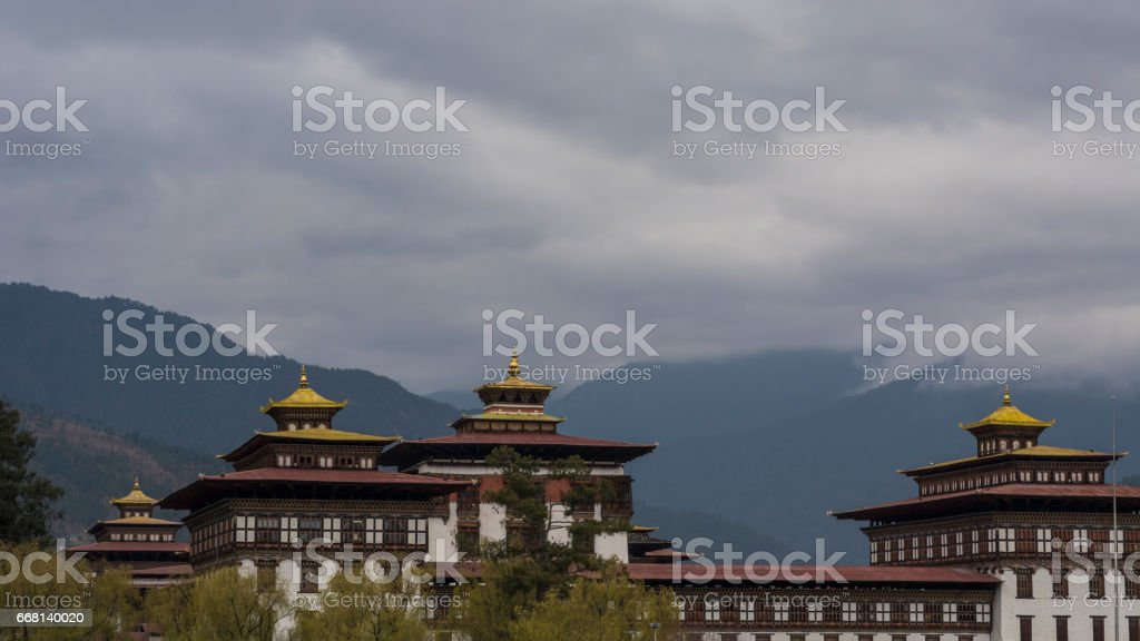 Beautiful view of Tashichho Dzong stock photo