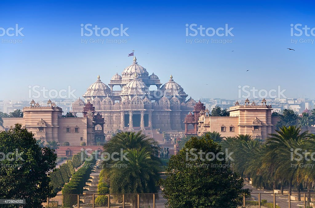 Beautiful view of Temple Akshardham in Delhi, India stock photo