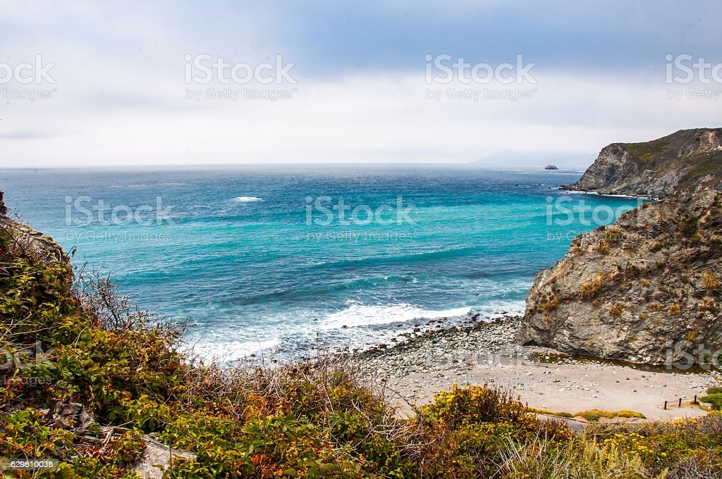 Beautiful View of the California Coastline along State Road 1. stock photo