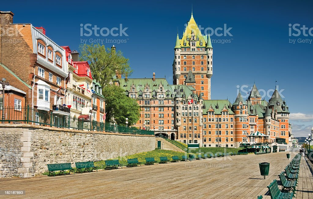 Beautiful view of the Chateau Frontenac Hotel in Quebec stock photo