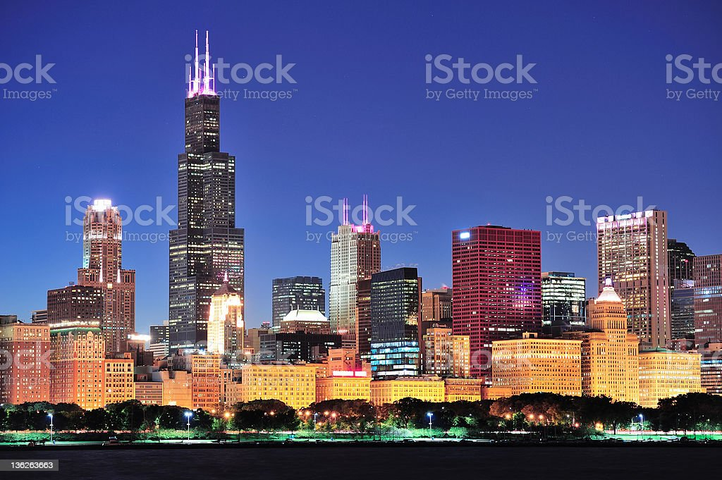 Beautiful view of the Chicago skyline at dusk stock photo