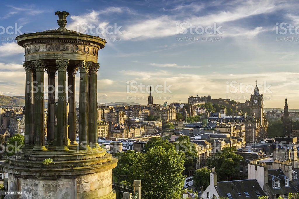 Beautiful view of the city, Edinburgh from Calton Hill stock photo