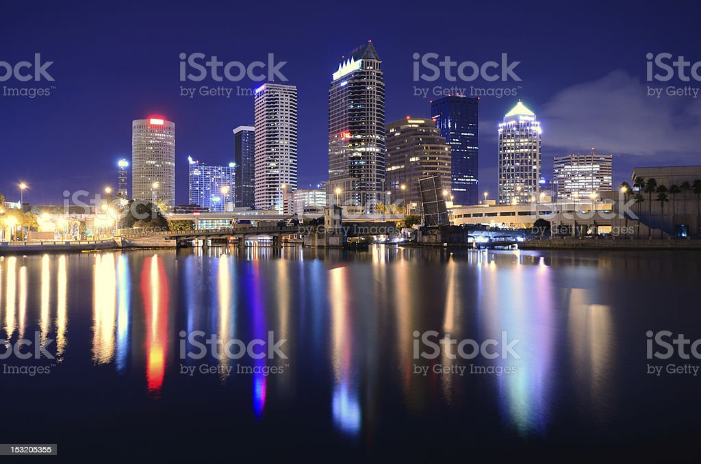 Beautiful view of the city of Tampa at night by the water stock photo