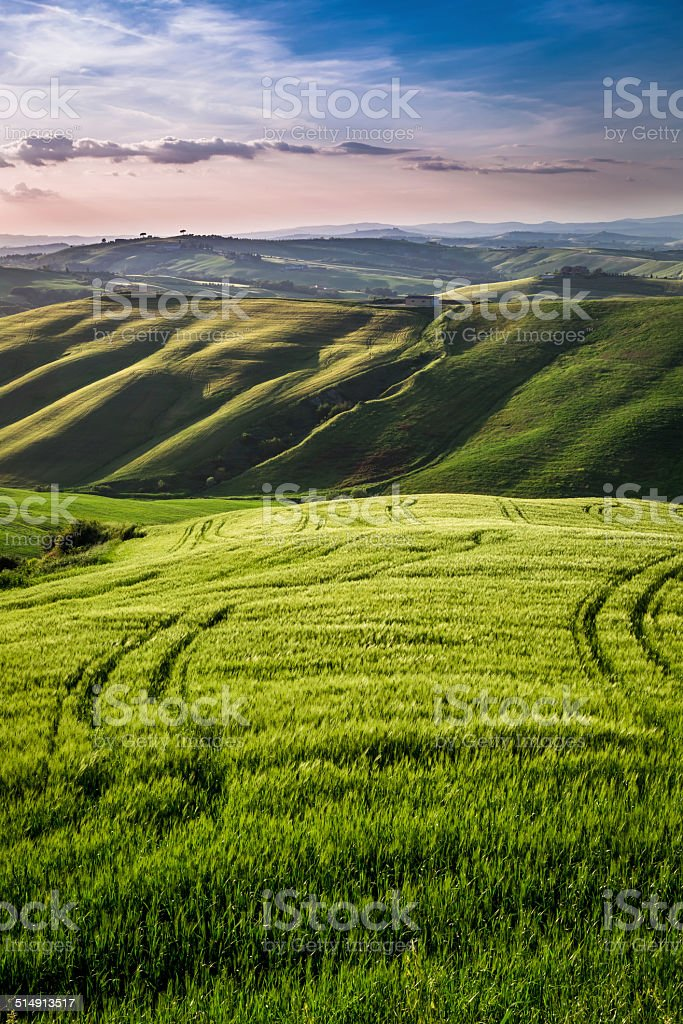 Beautiful view of the country footpath at sunset in Tuscany stock photo