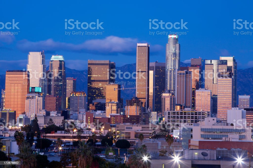 Beautiful view of the downtown area in LA in twilight royalty-free stock photo
