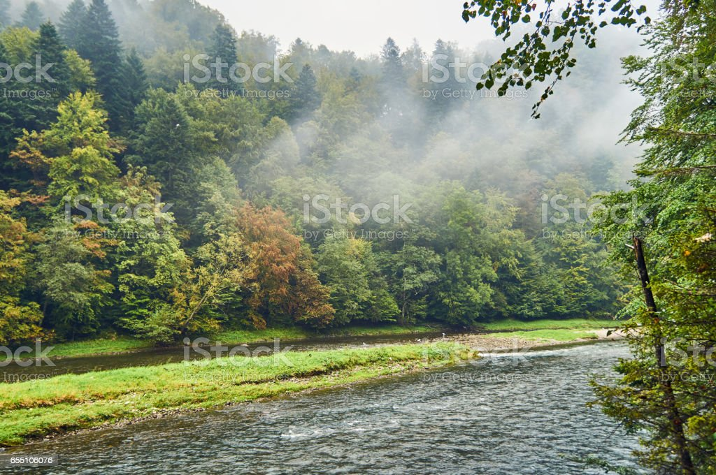 Beautiful view of the Dunajec river and Pieniny National Park, Poland, in rainy and foggy september day stock photo