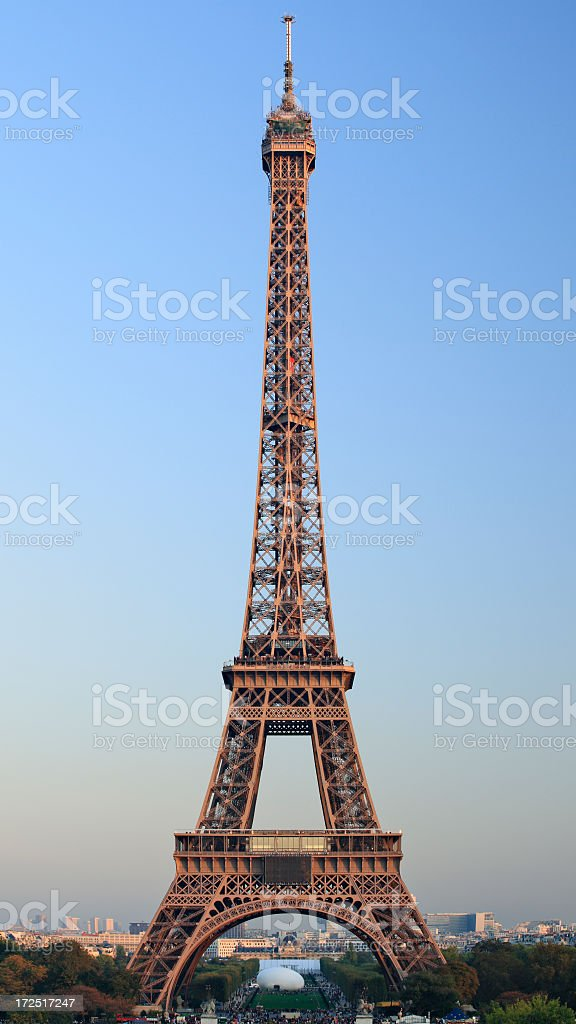A beautiful view of the Eiffel Tower during sunset royalty-free stock photo