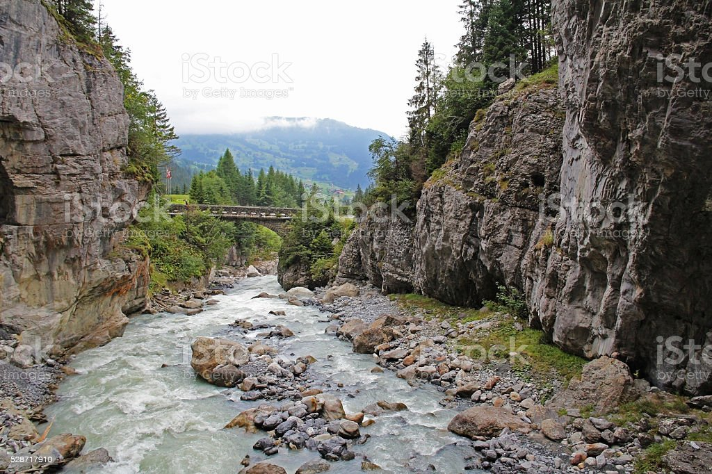 Beautiful view of the famous Glacier Gorge. Switzerland stock photo