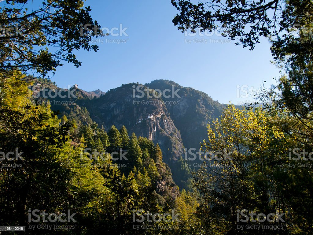 Beautiful view of the famous Taktshang monastery in Paro stock photo