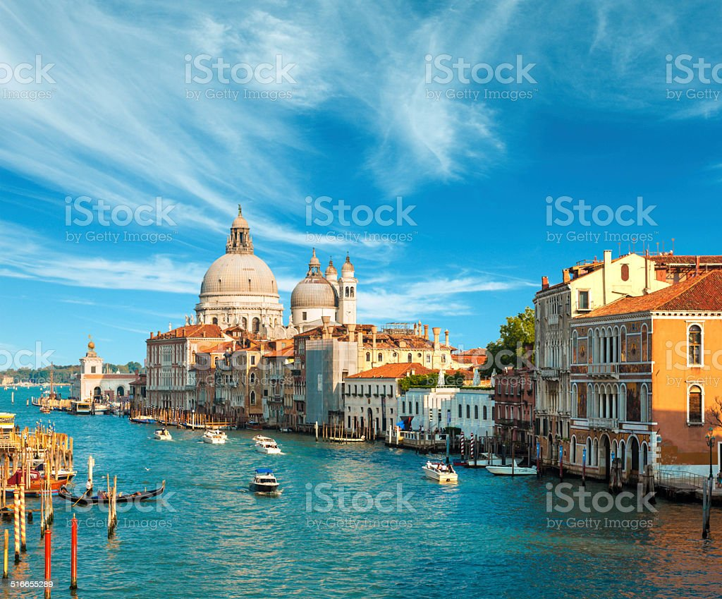Beautiful view of the Grand Canal in Venice stock photo