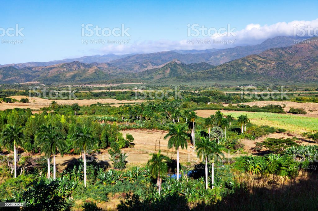 Beautiful view of the green Cuban countryside stock photo