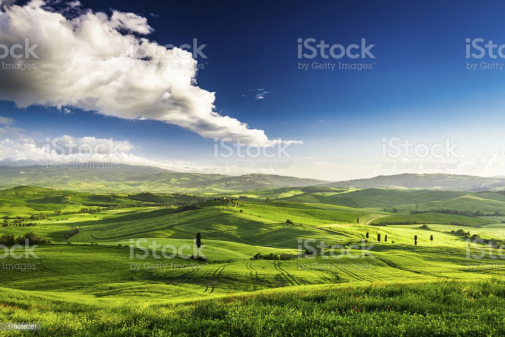 Beautiful view of the green valley at sunset, Tuscany royalty-free stock photo