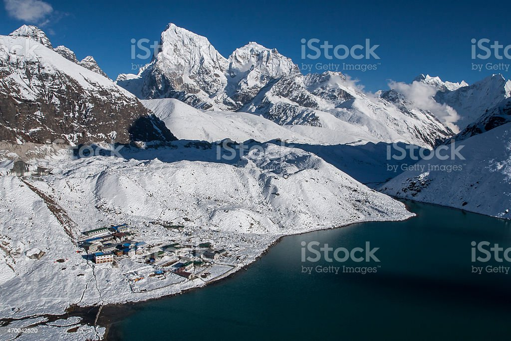 beautiful view of the Himalayas ang Gokyo from Gokyo Ri stock photo