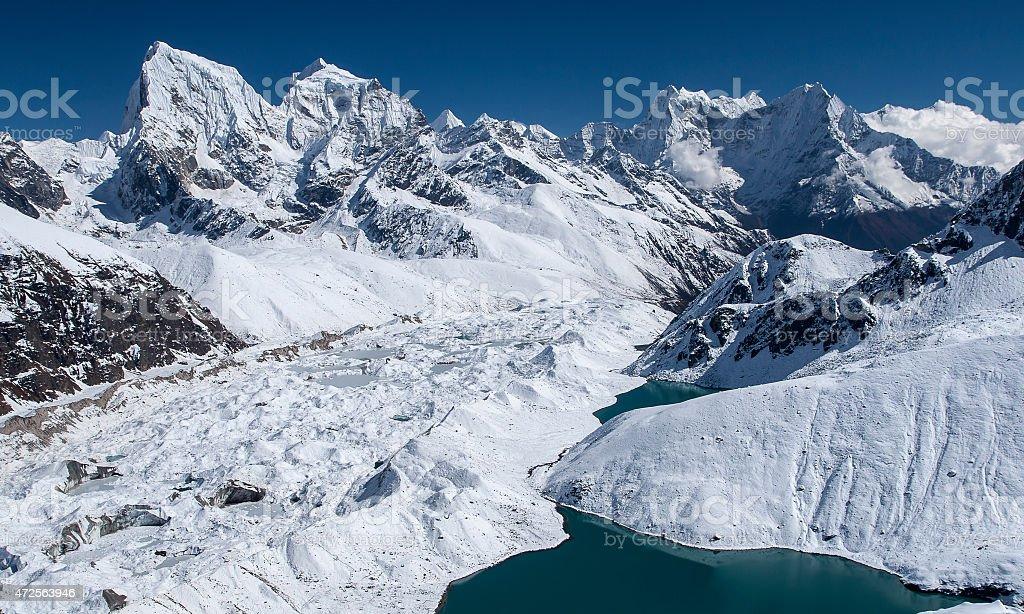beautiful view of the Himalayas from Gokyo Ri stock photo