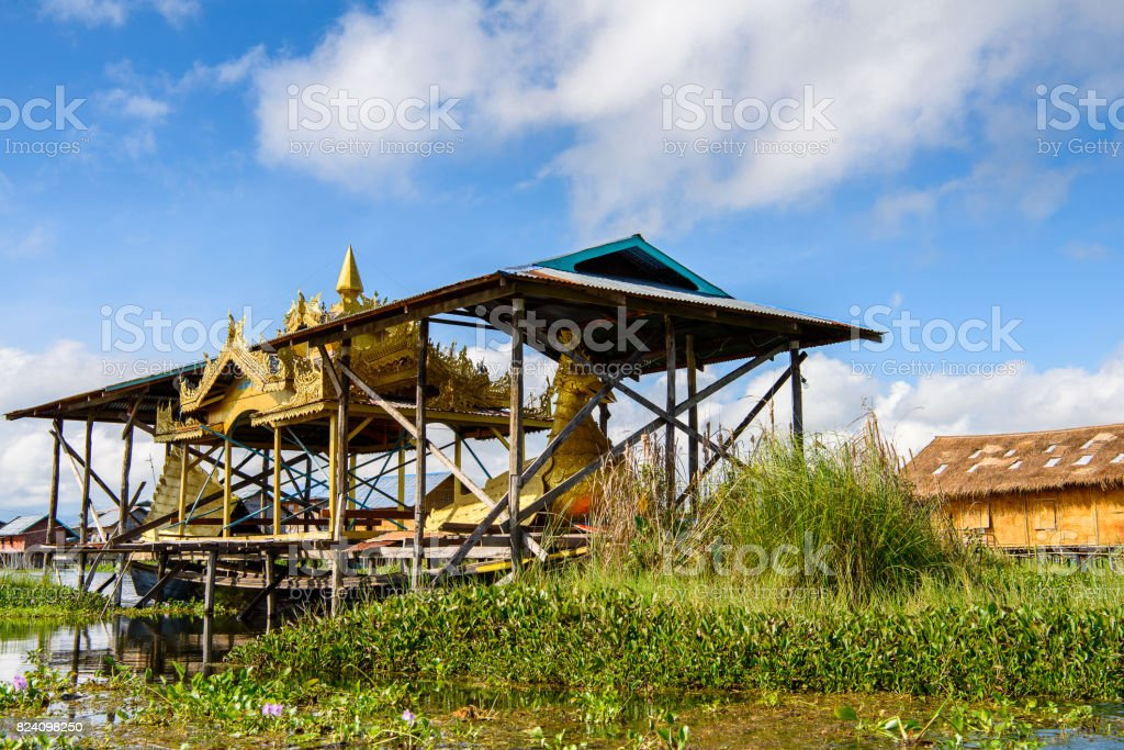 Beautiful view of the Inpawkhon village over the Inle Sap,a freshwater lake in the Nyaungshwe Township of Taunggyi District of Shan State, Myanmar stock photo