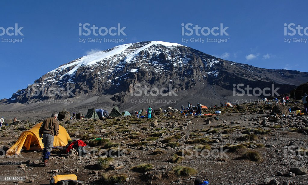 Beautiful view of the Kilimanjaro with snow on top stock photo