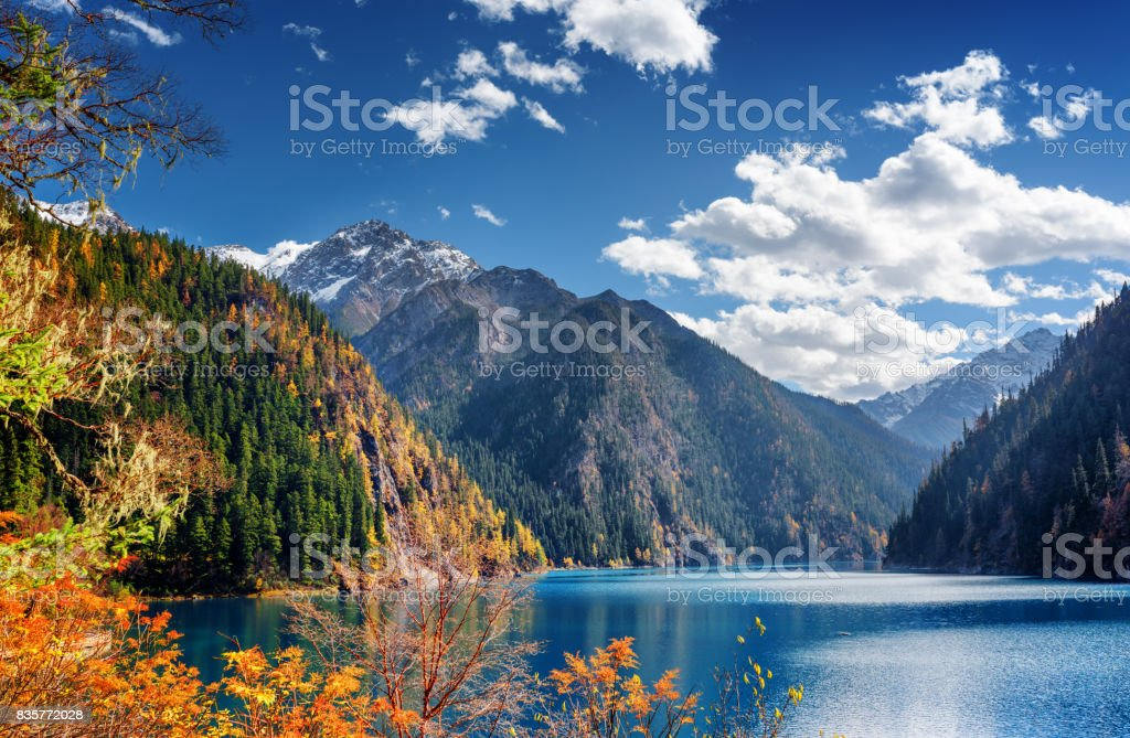 Beautiful view of the Long Lake among mountains and fall woods stock photo