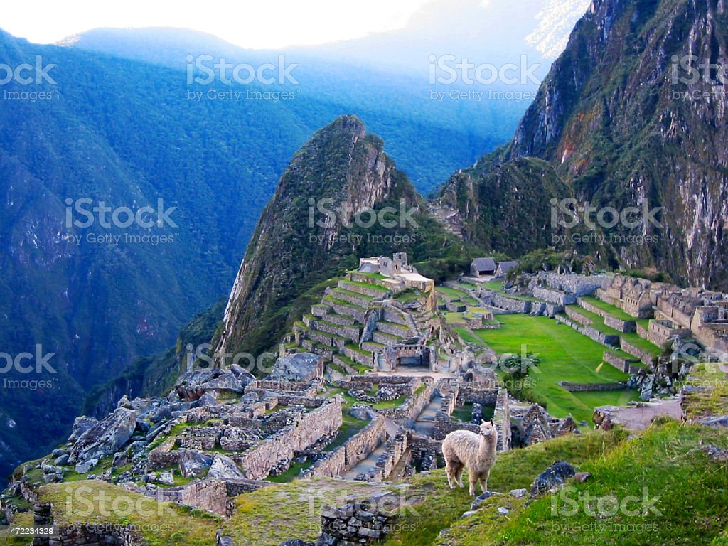 A beautiful view of the Machu Picchu ruins in Peru stock photo