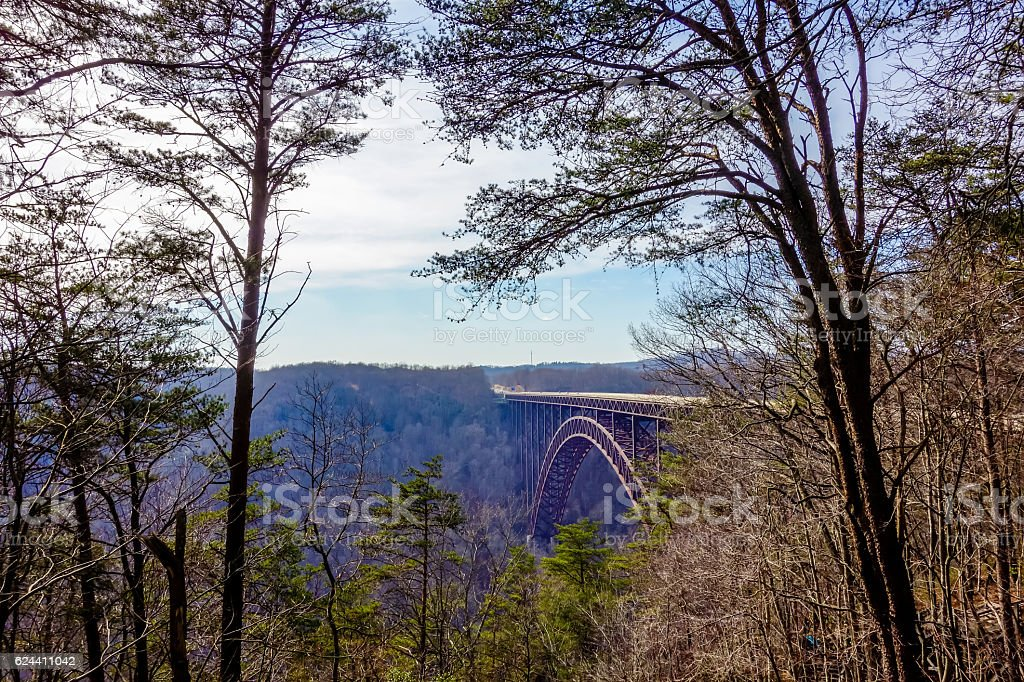 Beautiful view of the New River Gorge Bridge stock photo