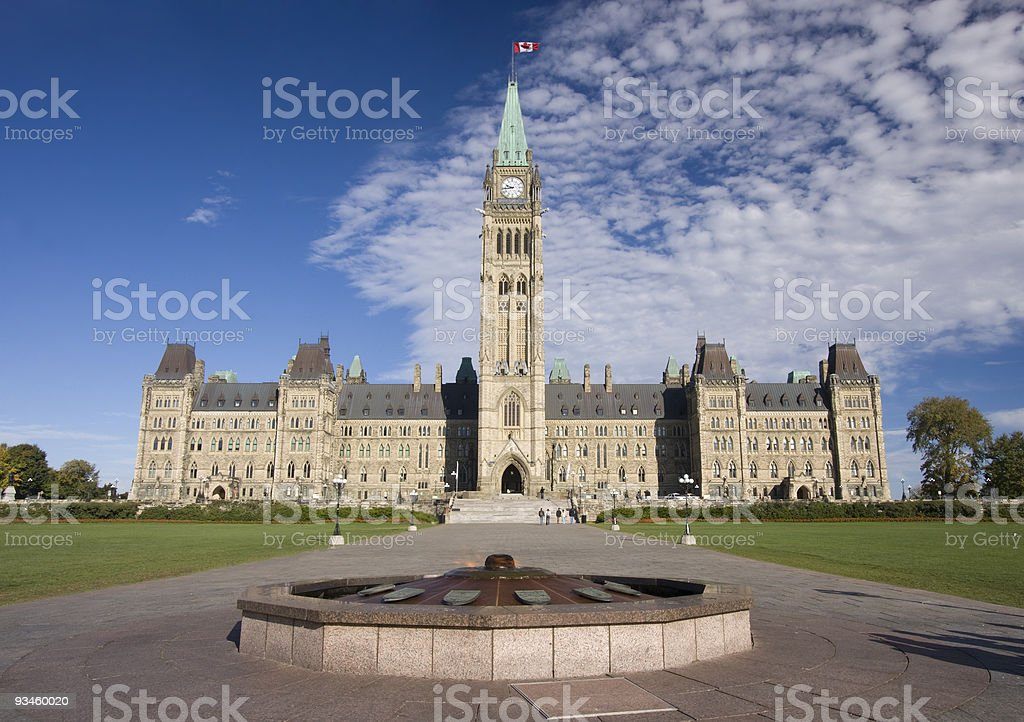 A beautiful view of the Parliament of Canada and flame stock photo