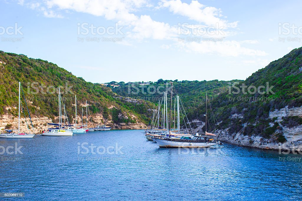 Beautiful view of the port at Bonifacio in Corsica stock photo