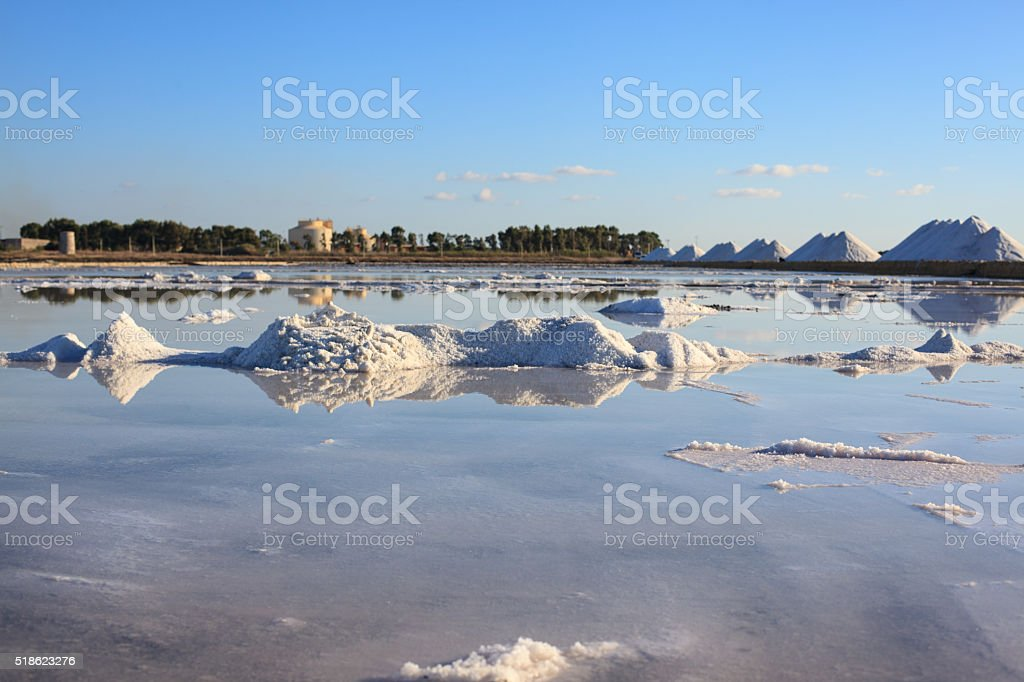 Beautiful view of the Saline, Trapani, Sicily stock photo