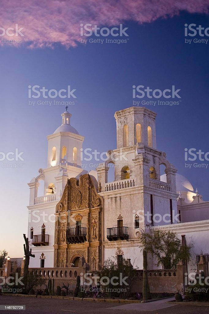Beautiful view of the San Xavier Mission royalty-free stock photo